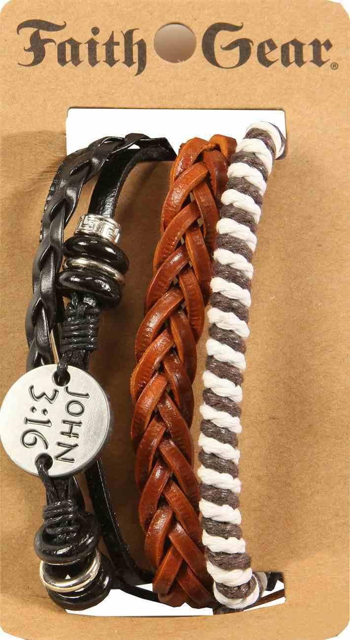 Men's Faith Gear Leather Bracelet: John 3:16 Multi, Leather + Original Castings (Multiple Colors) Jewellery