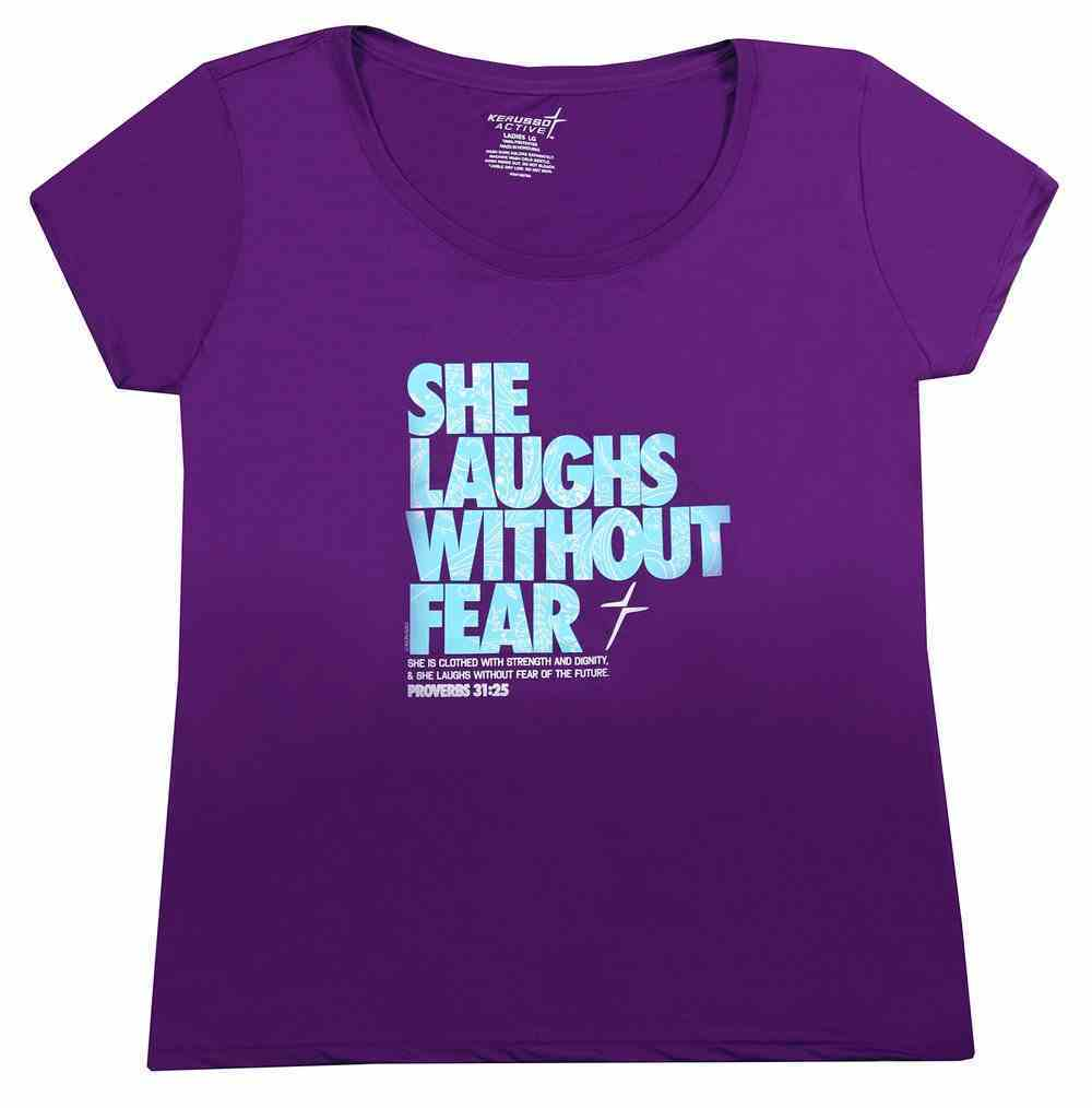 Women's Activewear T-Shirt: She Laughs Without Fear Medium, Purple/Bright Blue (Proverbs 31:25) Soft Goods