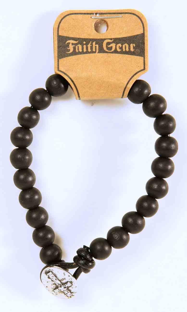 Men's Faith Gear Bracelet: Black Bead W/Cross Pendant Jewellery