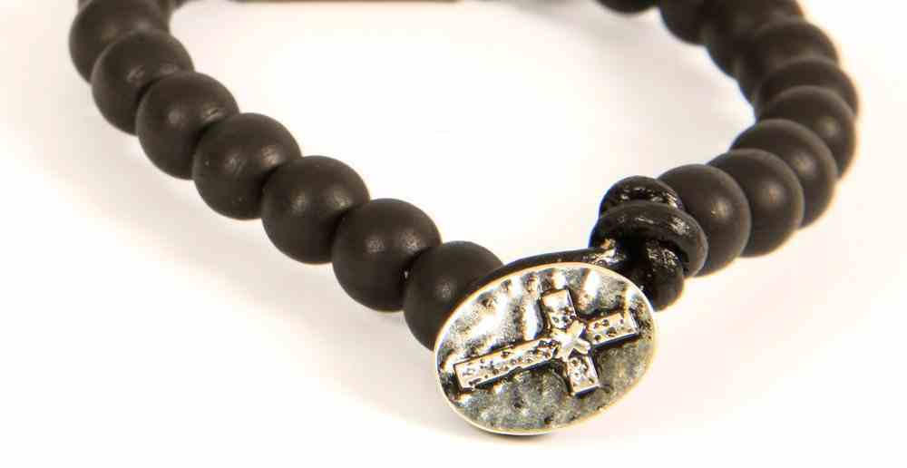 Men's Faith Gear Bracelet: Black Bead W/Cross Pendant Jewellery