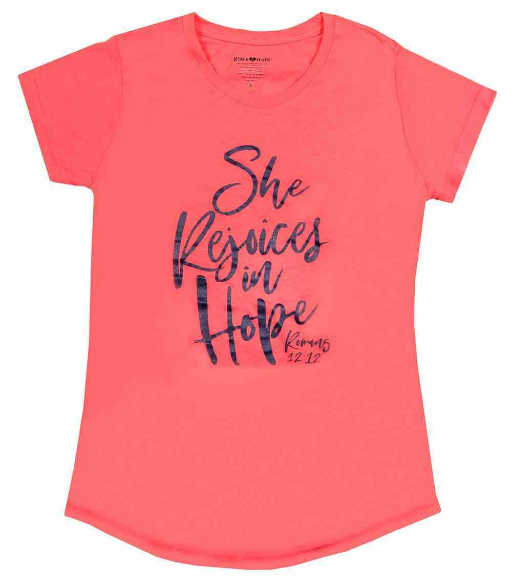 She Rejoices in Hope, Large Coral Heather (Romans 12: 12) (Grace & Truth Womens T-shirts Series) Soft Goods