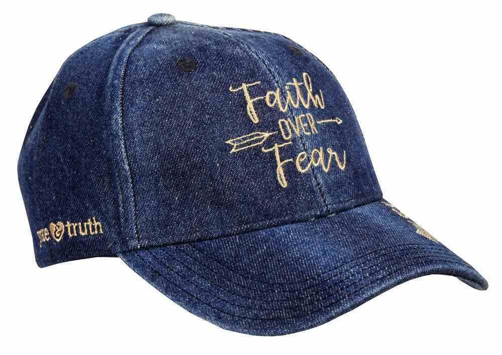 Grace & Truth Women's Cap: Faith Over Fear, Blue Denim (Psalm 56:4) Soft Goods