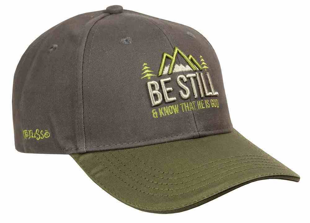 Men's Cap: Be Still & Know That He is God, Grey (Psalm 46:10) Soft Goods