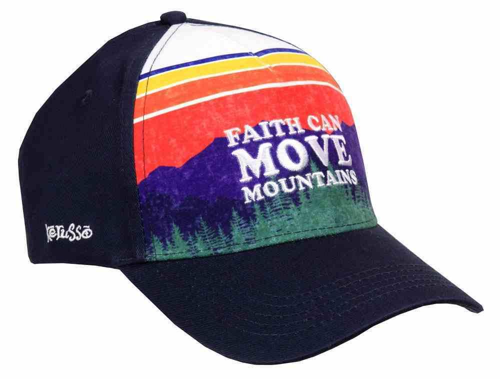 Men's Cap: Faith Can Move Mountains, Mountain Stripes/Navy Soft Goods