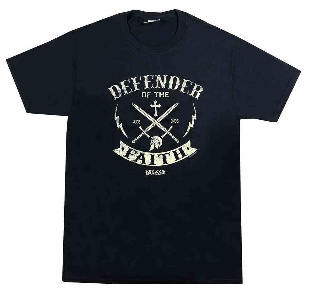 T-Shirt: Defender, Xlarge Black/Gold (Jude 1:3) Soft Goods