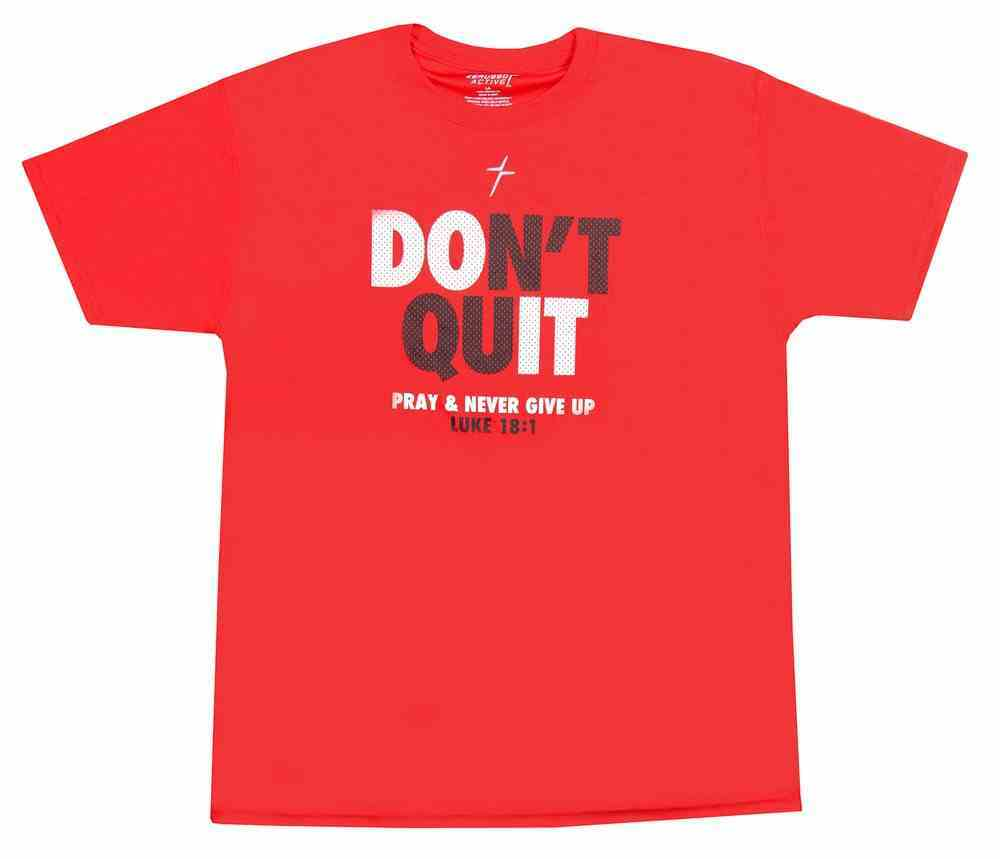 Men's Activewear T-Shirt: Don't Quit, Large Red (Luke 18:1) Soft Goods