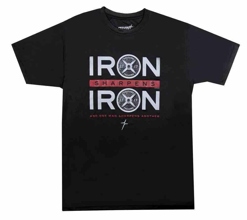 Men's Activewear T-Shirt: Iron Sharpens Iron, Large Black/Red (Prov 27:17) Soft Goods