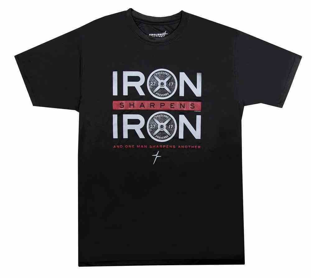 Men's Activewear T-Shirt: Iron Sharpens Iron, Xlarge Black/Red (Prov 27:17) Soft Goods