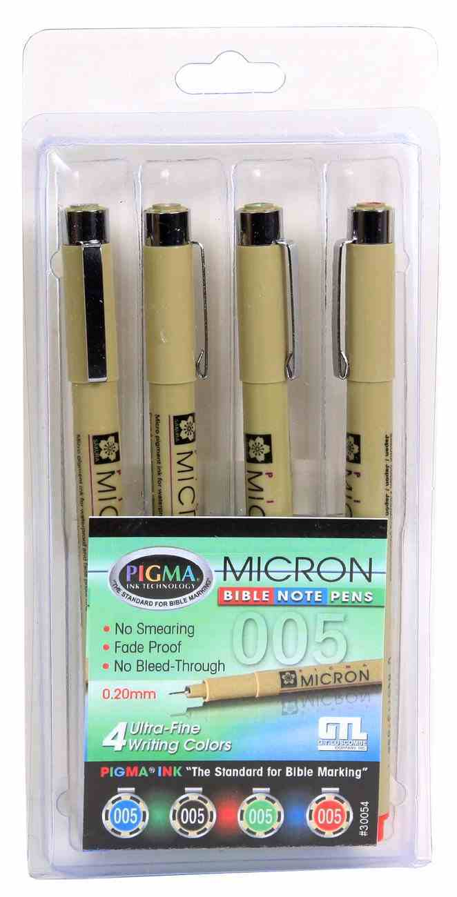 Pigma Micron Set of 4 Bible Note Pens:005 Ultra Fine, Black Red Blue & Green Stationery