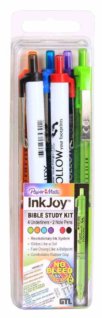 Paper Mate Ink Joy Set of 6 Bible Study Kit: 2 Pens & 4 Underliners, Psalm 119 15 Stationery