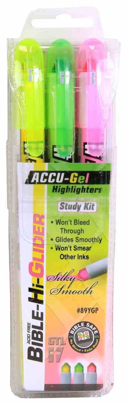 Accu-Gel Bible Hi Glider 3 Piece Study Kit: Yellow Green & Pink Stationery
