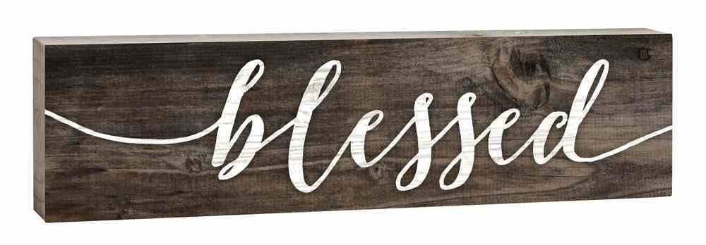 Tabletop Decor: Blessed, Small Pine Sign Plaque