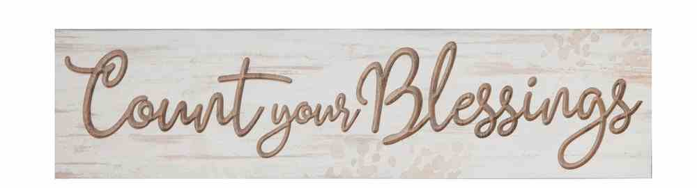 Carved Tabletop Decor: Count Your Blessings Plaque