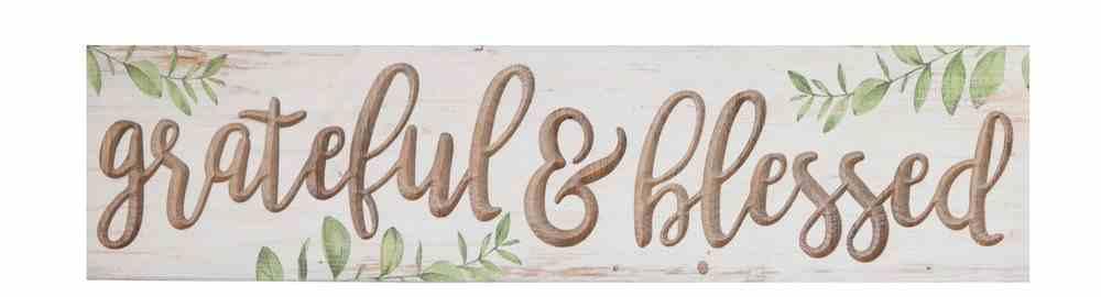 Carved Tabletop Decor: Grateful & Blessed, Leaves Plaque
