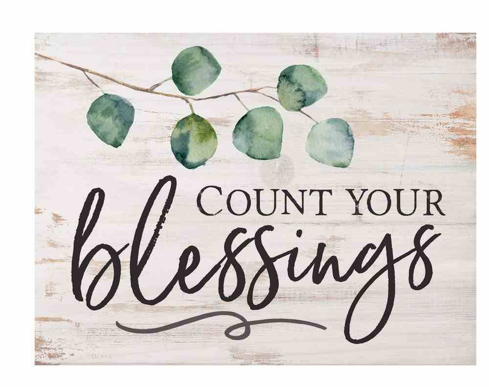 Tabletop Decor: Count Your Blessings, Leaves Plaque