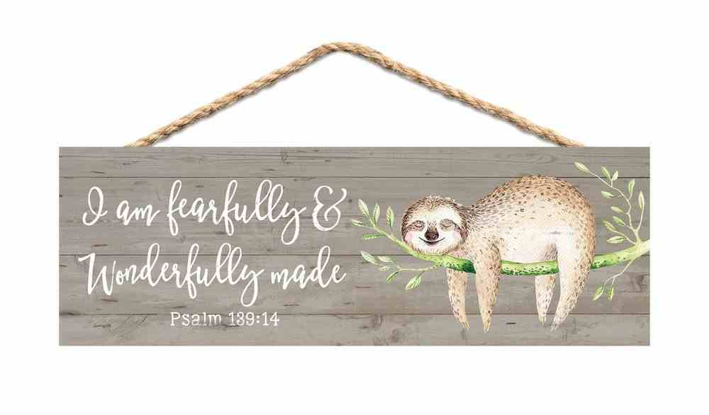String Sign: I Am Fearfully & Wonderfully Made Pine, Sloth on Branch (Psalm 139:14) Plaque