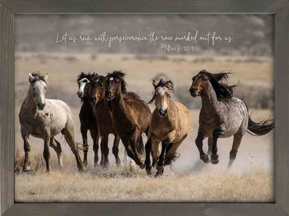 Wall Art: Let Us Run With Perseverance the Race Marked Out For Us (Hebrews 12:1) Plaque