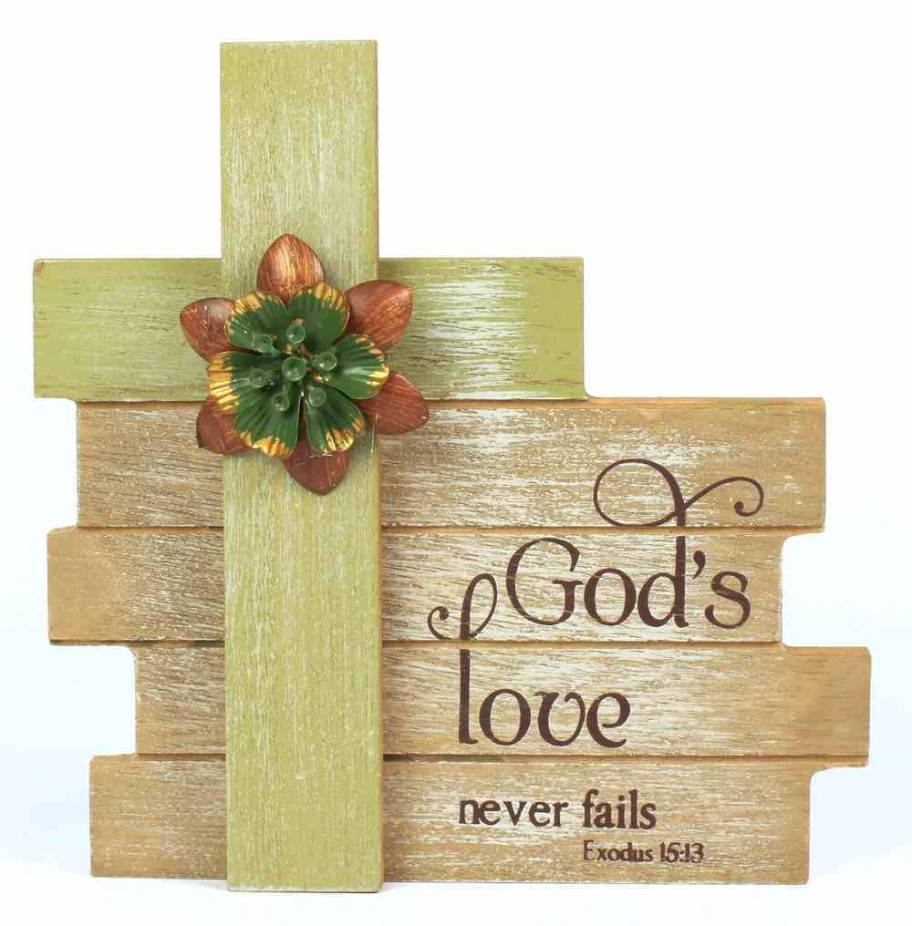 Cross Plaque Simple Spirits: God's Love, Green Cross With Flowers Homeware