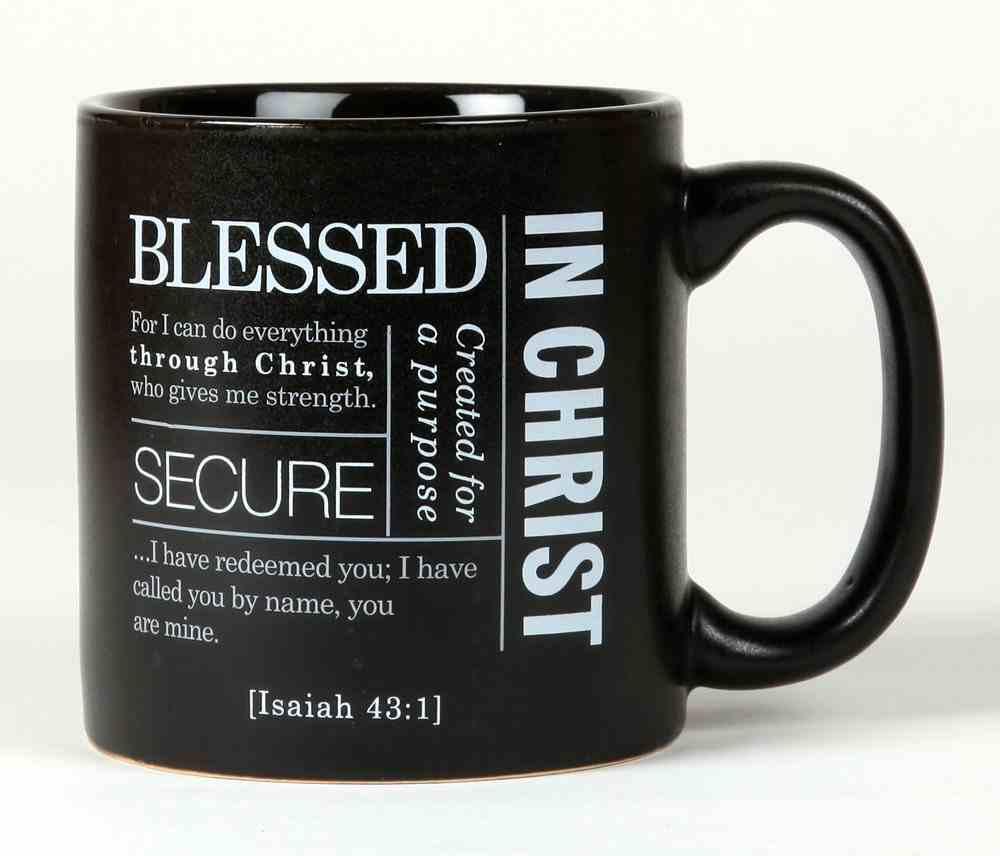 Ceramic Mug Simple Faith: Blessed, Black/White (Isaiah 43:1) Homeware