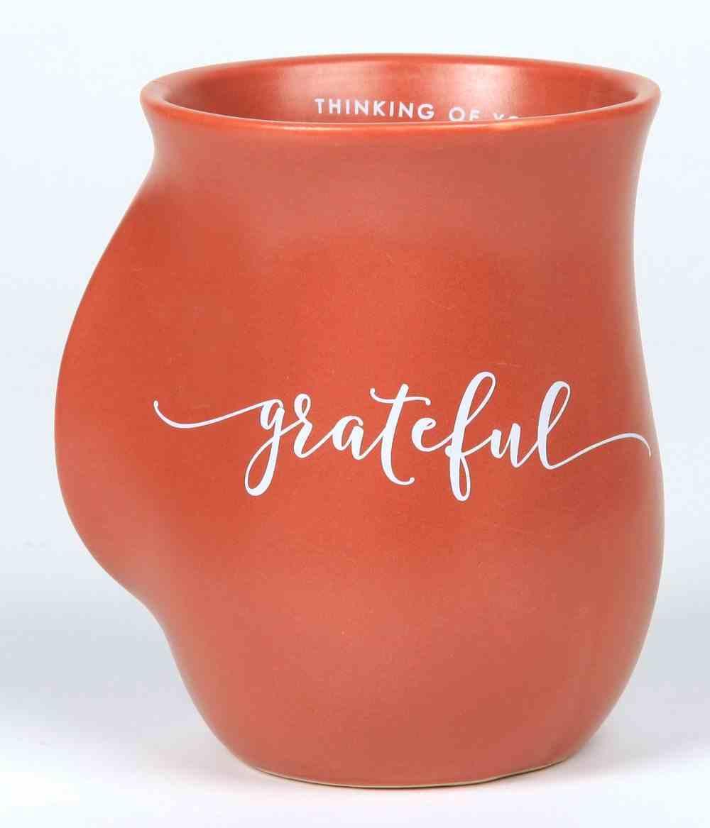 Ceramic Handwarmer Mug: Grateful, Orange, Psalm 4:7 Homeware