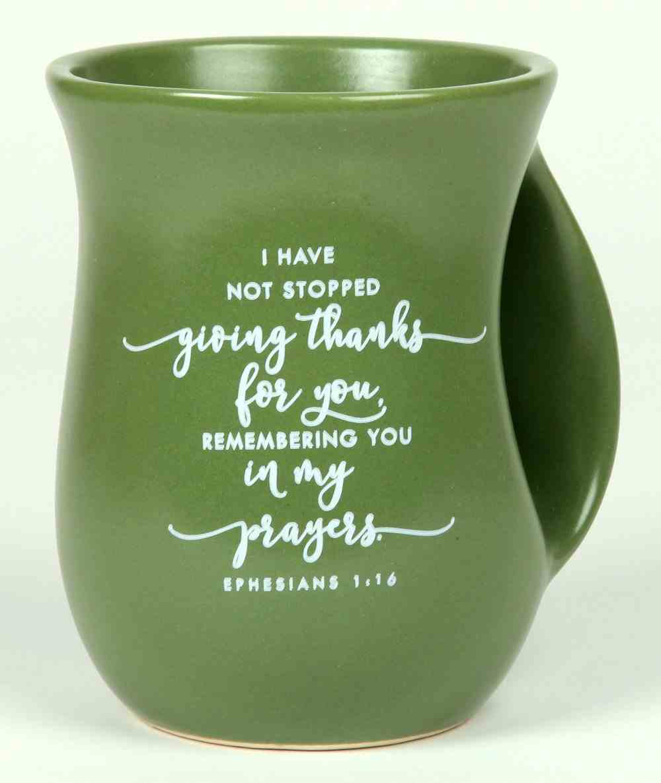 Ceramic Handwarmer Mug: Thankful, Green, Ephesians 1:16 Homeware