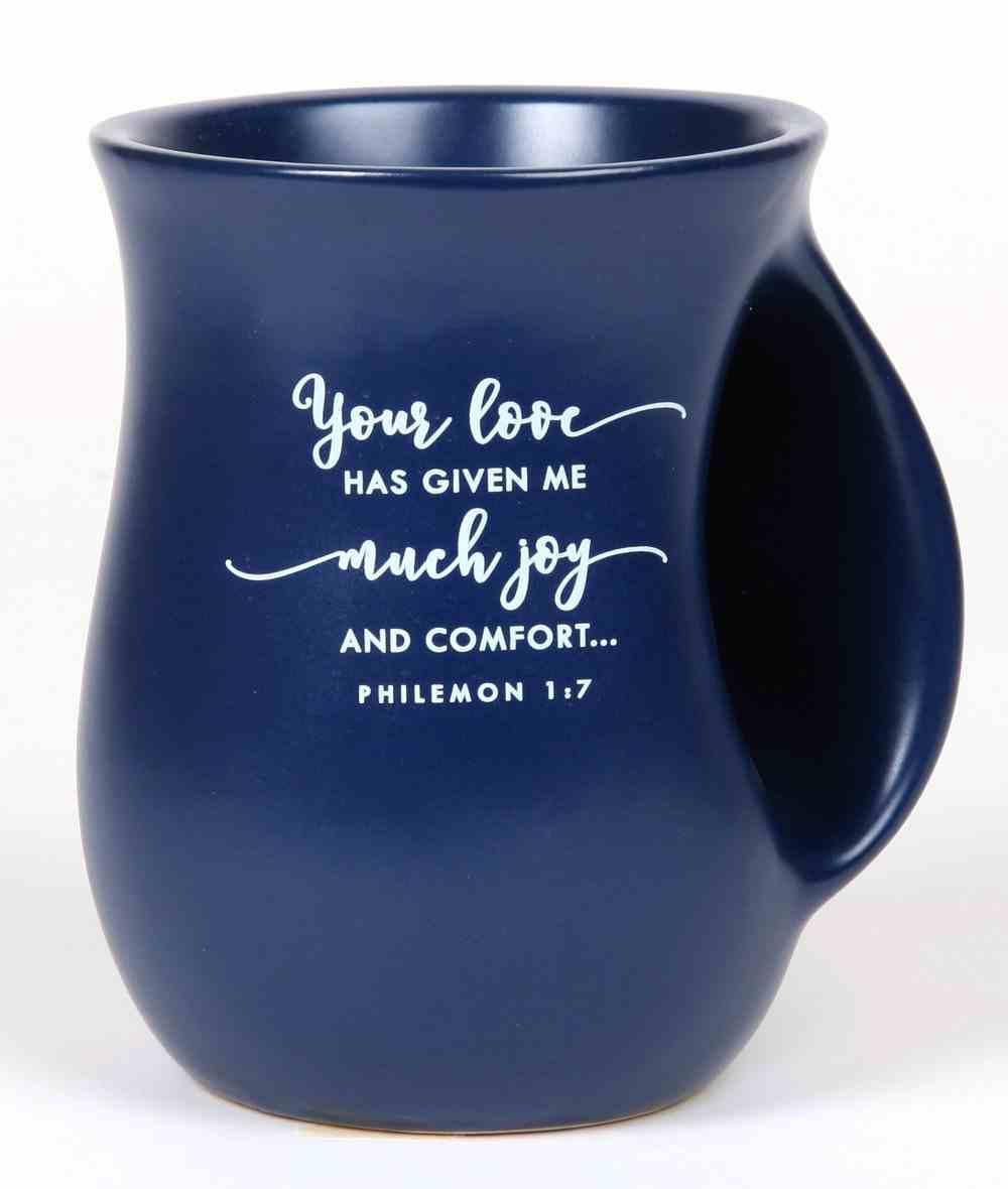 Ceramic Handwarmer Mug: Blessed, Blue, Philemon 1:7 Homeware