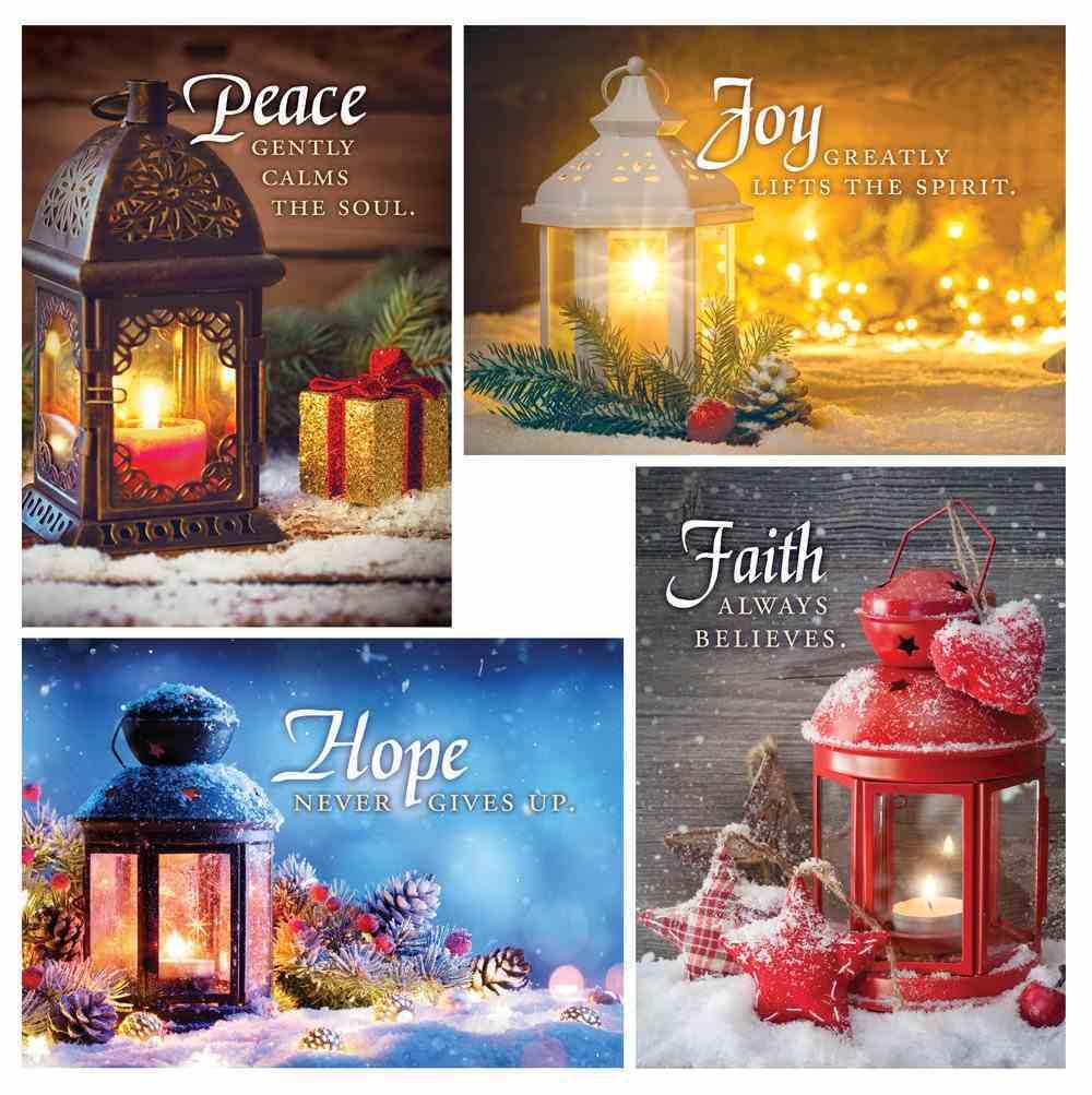 Christmas Boxed Cards: Christmas Lanterns; Hope, Faith, Peace, Joy (Kjv) Box