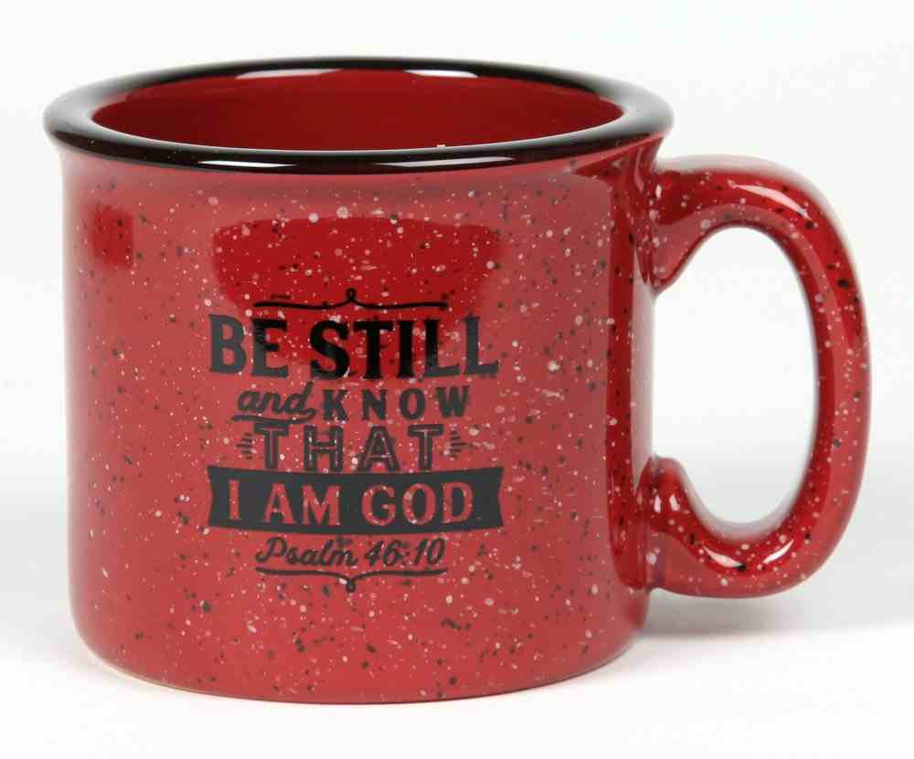 Ceramic Camping Mug: Be Still and Know That I Am God, Burgundy/Black (Psalm 46:10) Homeware