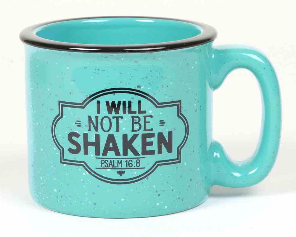 Ceramic Camping Mug: I Will Not Be Shaken, Aqua/Black (Psalm 16:8) Homeware