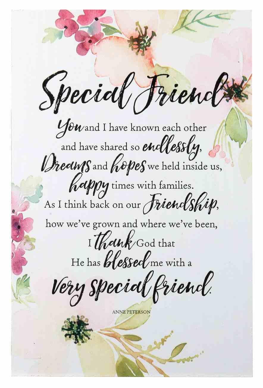 Woodland Grace Plaque: Special Friend Pink/Floral Plaque