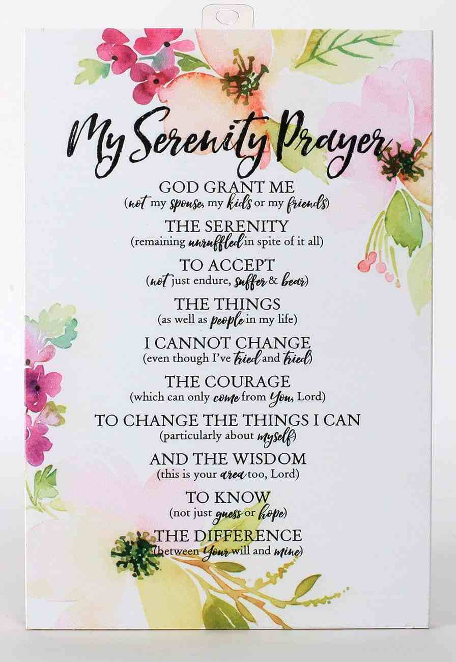Woodland Grace Plaque: My Serenity Prayer, Pink/Floral Plaque