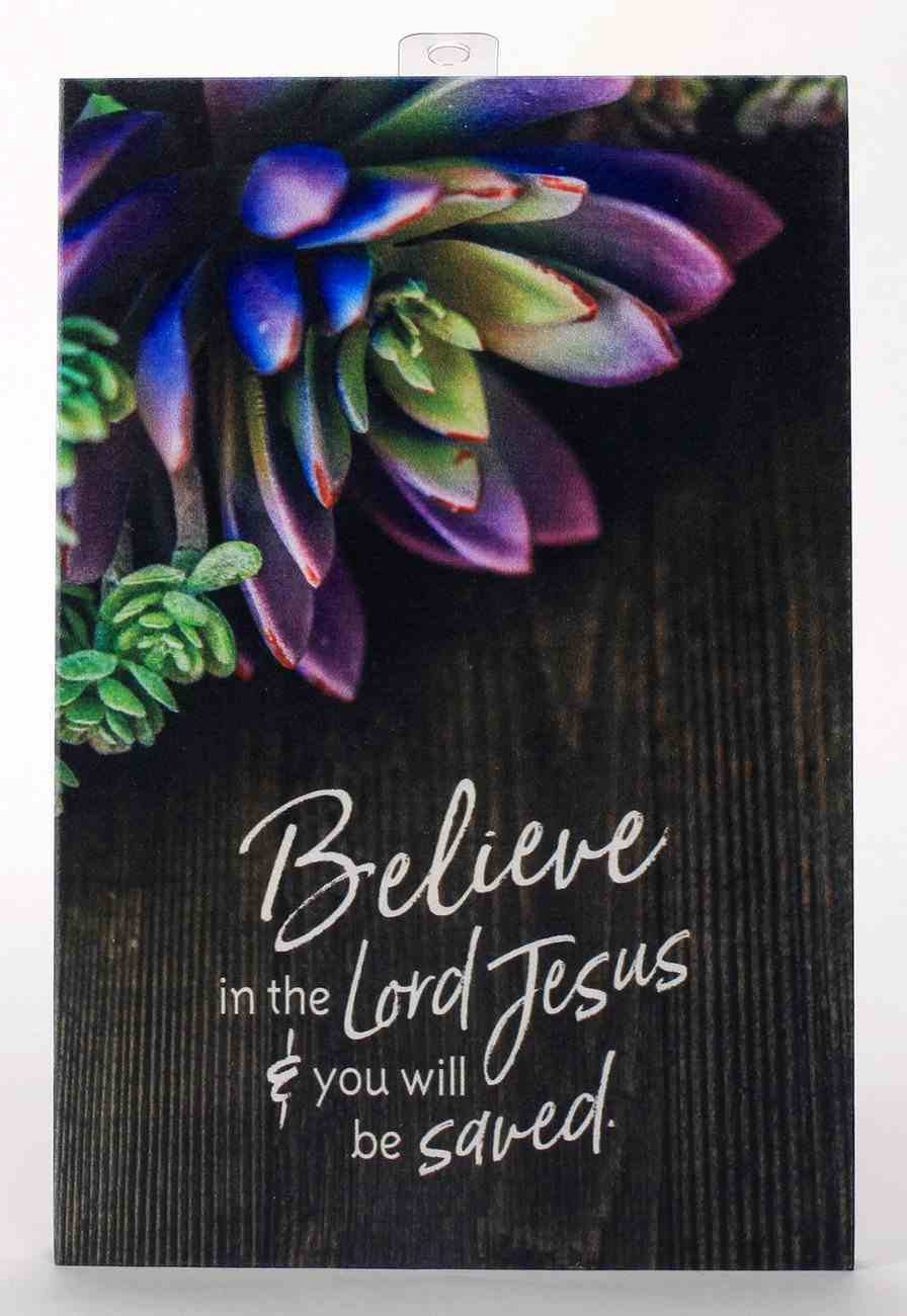 New Horizons Bright Plaque: Believe in the Lord Jesus & You Will Be Saved, Wood/Purple Sunculant Plaque