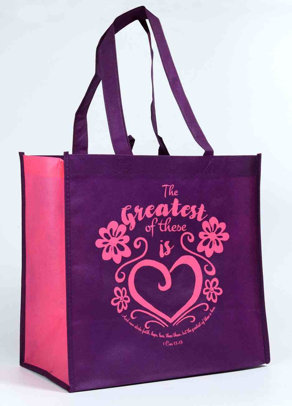 Tote Bag: Greatest of These is Love , Dark Purple/Pink (Heart) Soft Goods