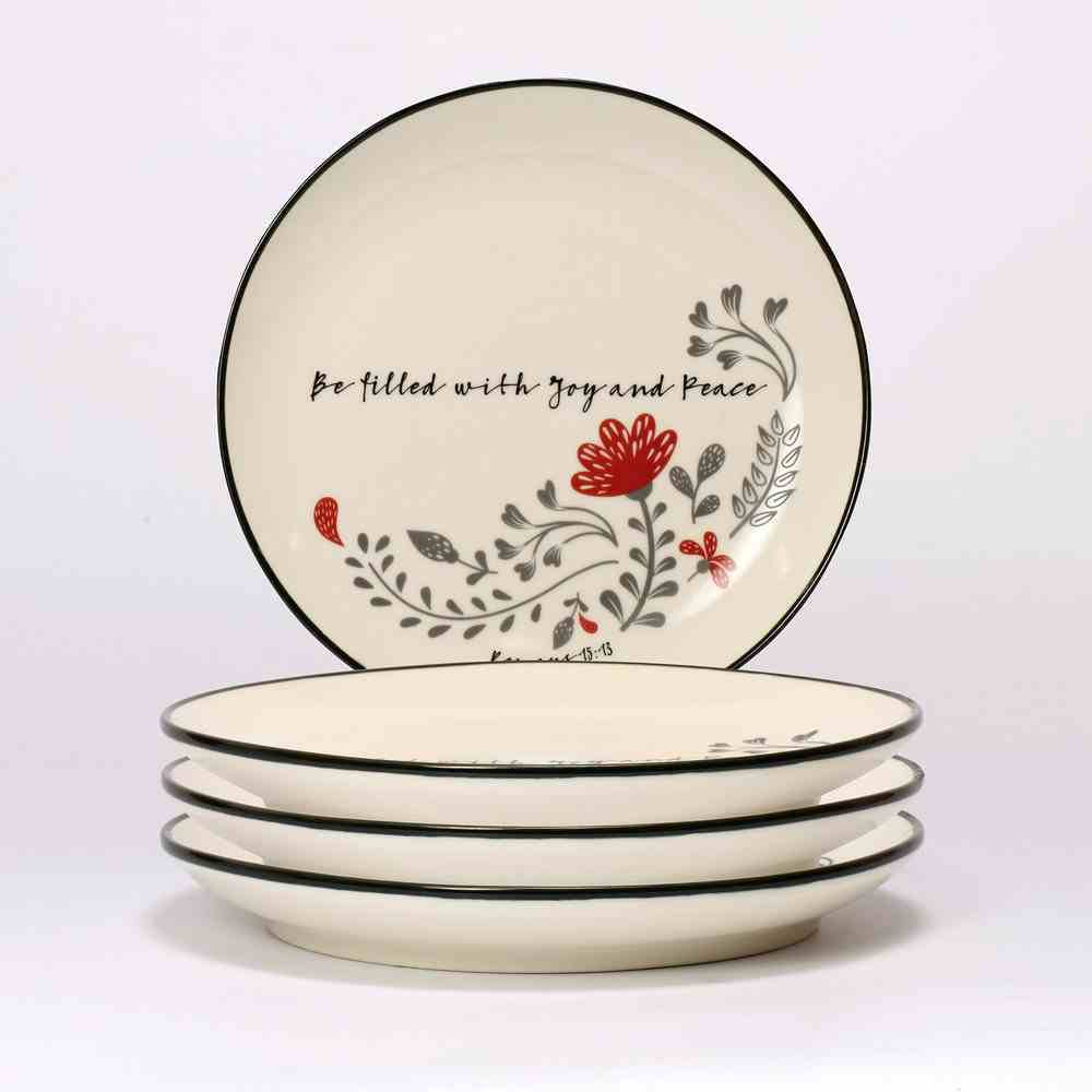 Ceramic Salad Plate Set of 4: Be Filled With Joy and Peace, White/Red/Black (Scribbles Kitchen Collection) Homeware