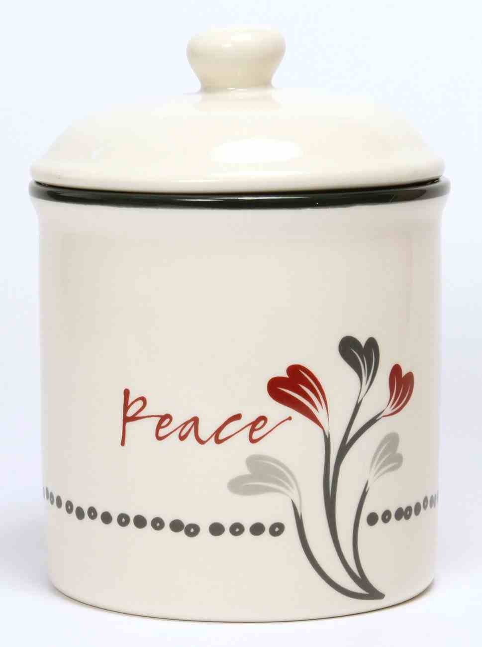 Ceramic Canister: Peace, White/Red/Black (Scribbles Kitchen Collection) Homeware