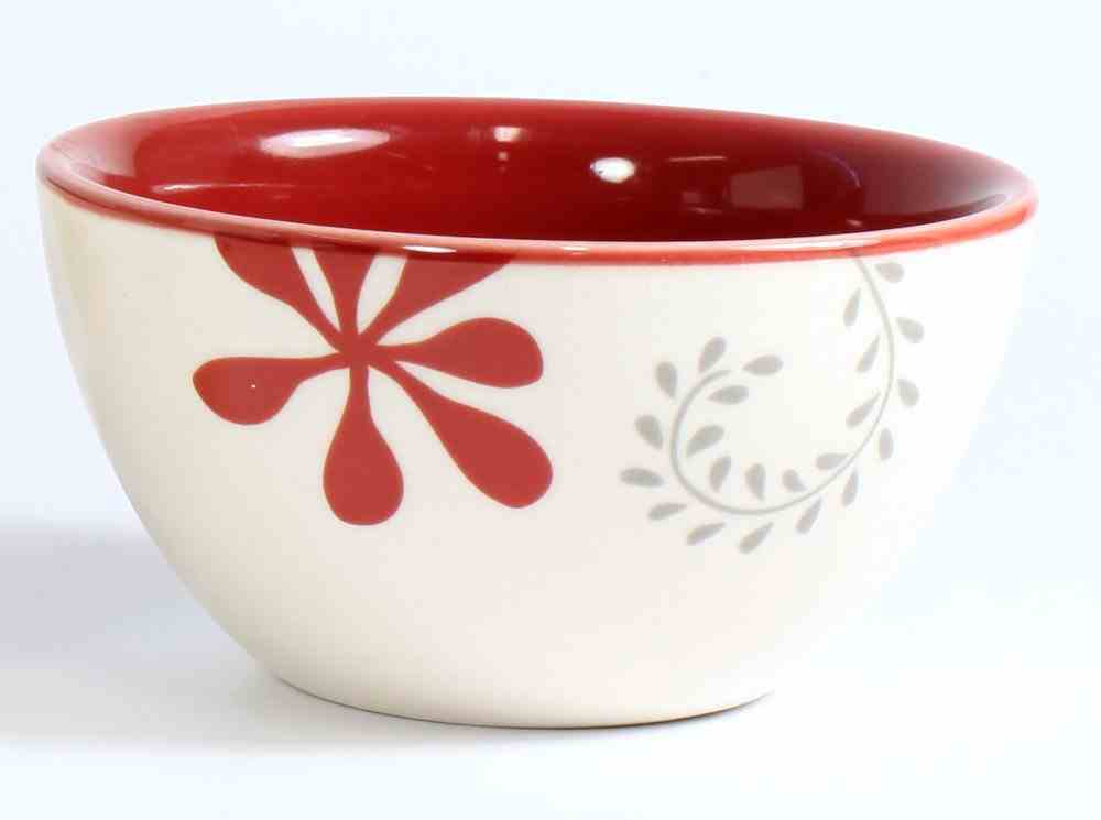 Ceramic Mini Bowls : Joy; Love, Heart; Grace, White/Red/Black (Set of 4) (Scribbles Kitchen Collection) Homeware
