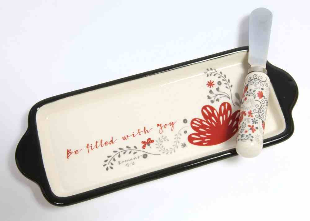 Ceramic Butter Dish With Knife: Be Filled With Joy, White/Red/Black (Scribbles Kitchen Collection) Homeware