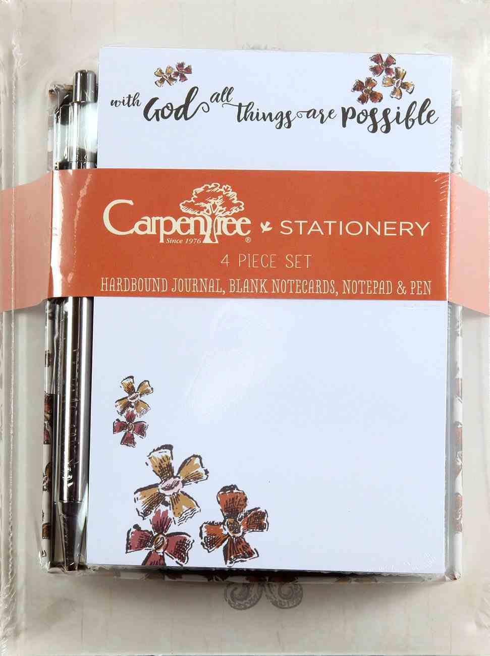 4 Piece Stationery Set: Journal, Blank Notecards, Notepad & Pen, With God All Things Stationery