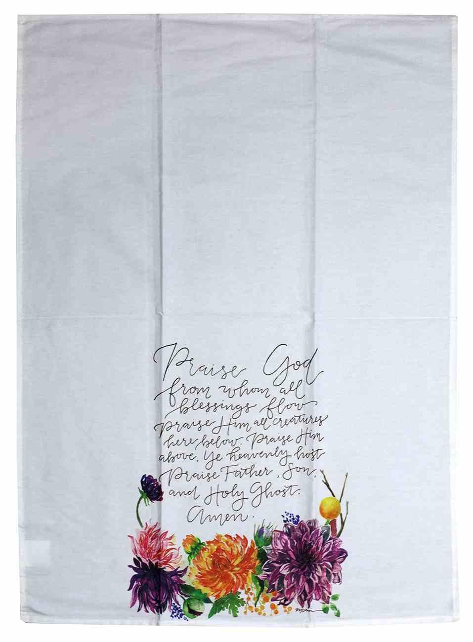 Gracelaced Doxology: Tea Towel, White/Coloured Floral Arrangement Under Doxology Homeware