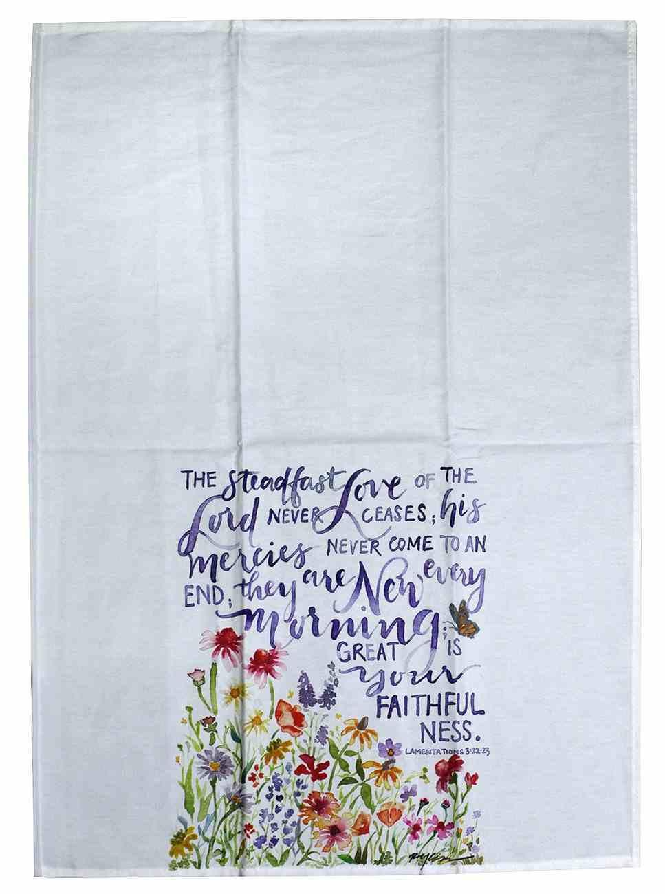 Gracelaced Steadfast Love: Tea Towel, White/Coloured Floral Garden Homeware