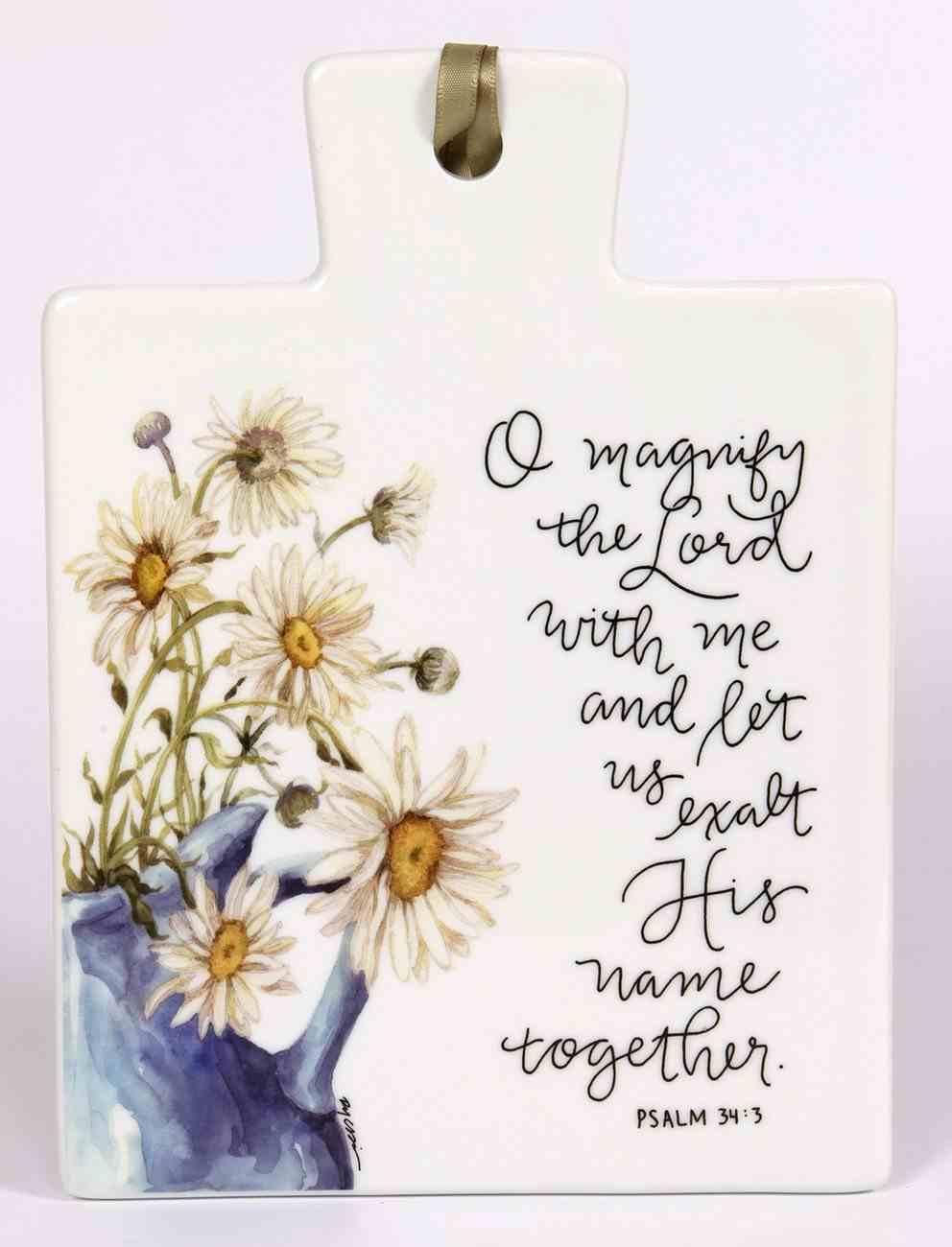 Gracelaced Ceramic Trivet: O Magnify the Lord, Sunflower in Blue Vase Homeware