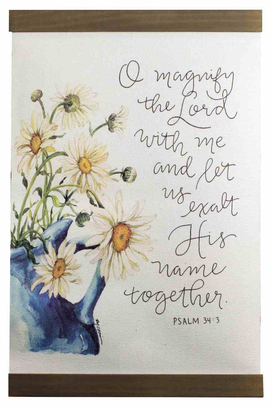 Gracelaced Hanging Banner: Magnify the Lord, White/Sunflowers in Blue Vase Homeware