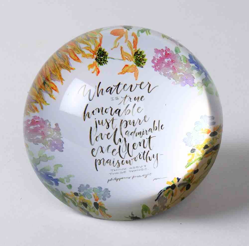 Gracelaced Glass Paperweight: Whatever is True, White/Country Floral Homeware