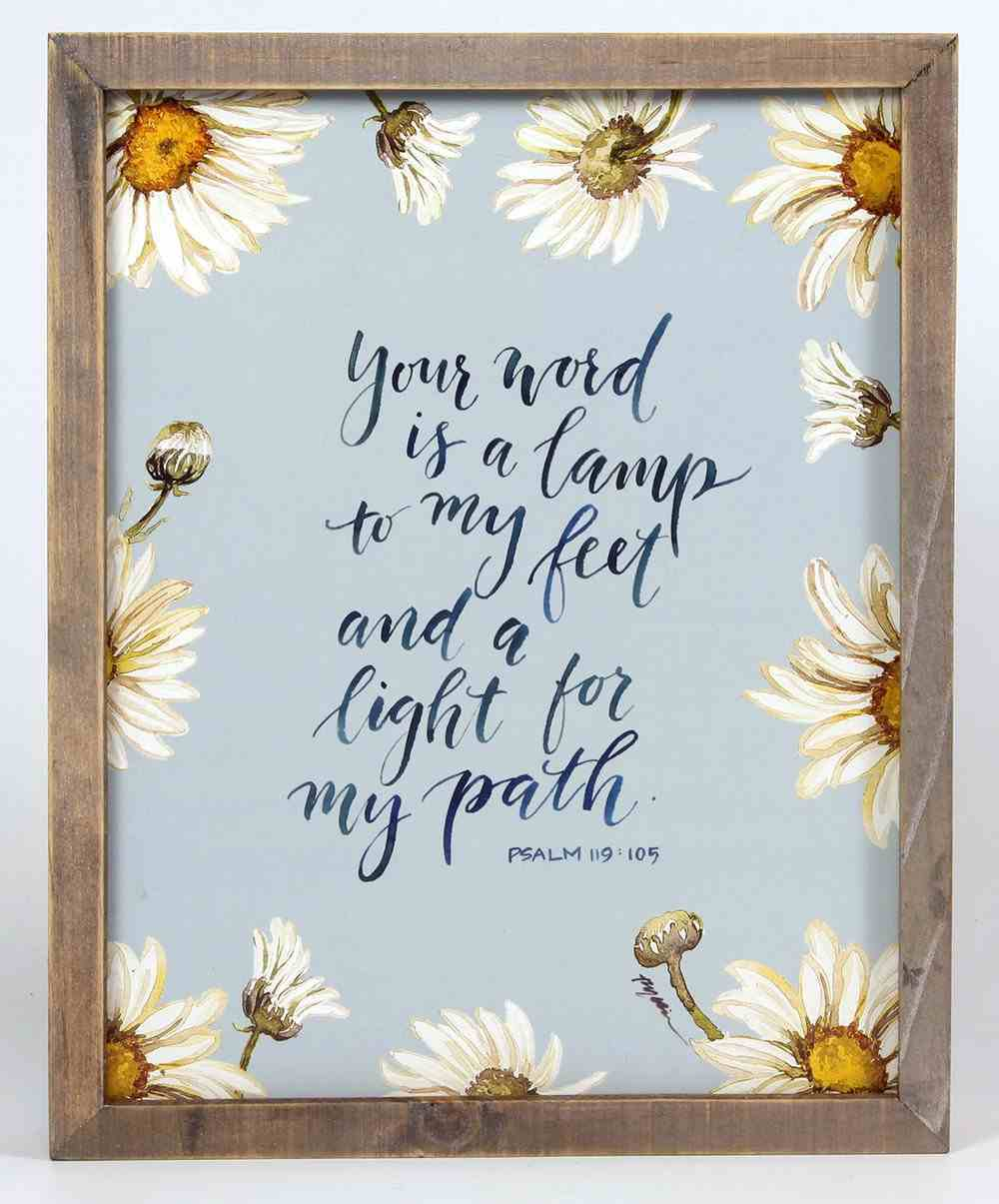 Gracelaced Wood Framed Plaque: Your Word is a Lamp, Blue Floral Plaque