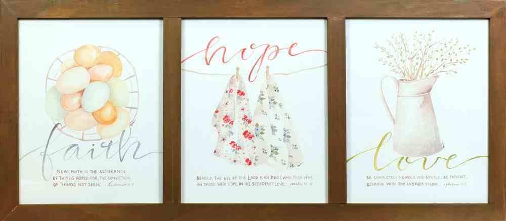 Gracelaced Framed Art: Faith, Hope, Love Plaque