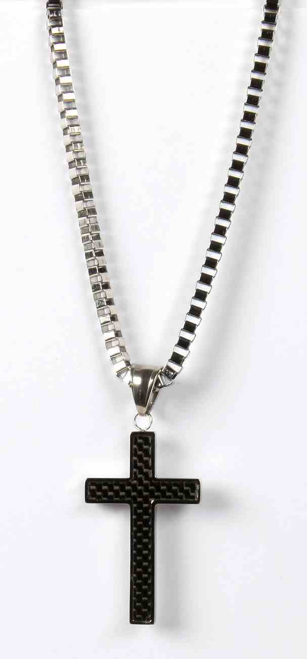 Just For Him Necklace: Black Cross Pendant, 61Cm in Length, Ion Plated Stainless Steel Jewellery