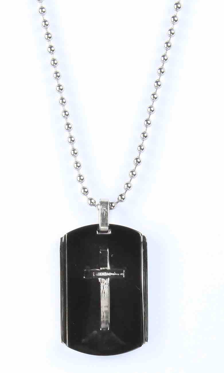 Just For Him Necklace: Cross on Black Dog-Tag, 61Cm in Length, Ion Plated Stainless Steel Jewellery