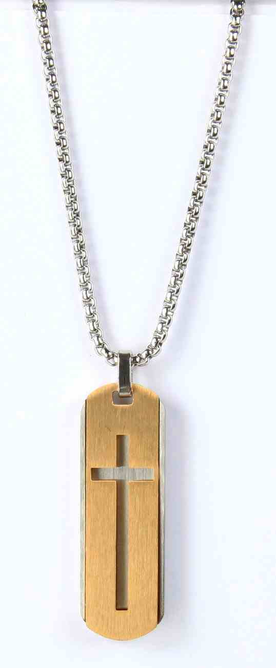 Just For Him Necklace: Cross on Dog-Tag Pendant, 61Cm in Length, Ion Plated Stainless Steel Jewellery