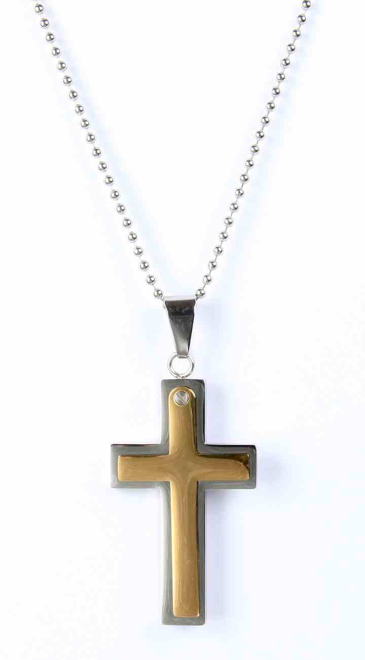 Just For Him Necklace: Black/Brown Two Tone Cross, 61Cm in Length, Ion Plated Stainless Steel Jewellery