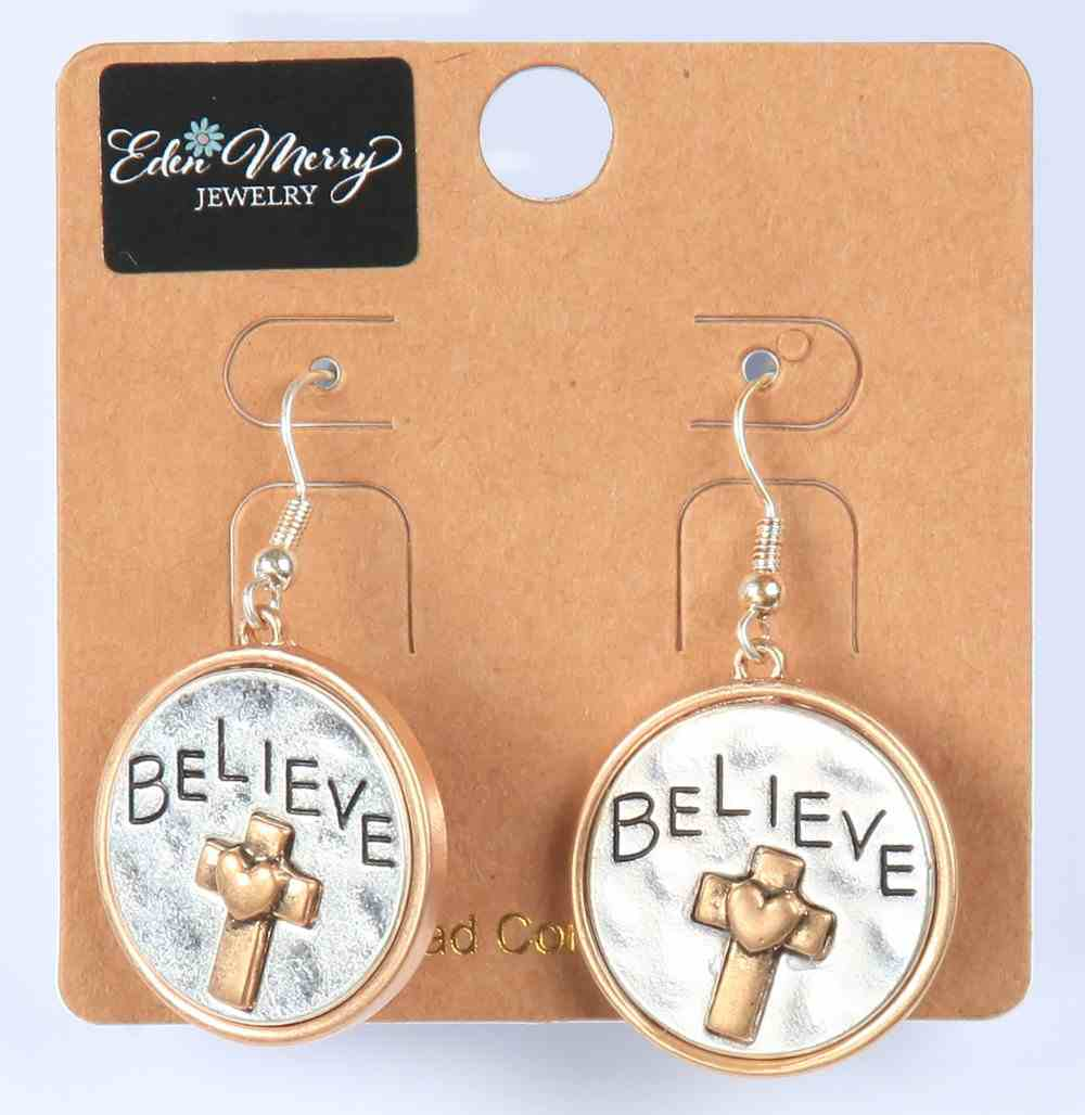 Earings: Believe, Round With Cross and Heart, Zinc Based Jewellery